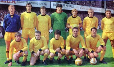 Stewart Ross, in tracksuit top, lines up with Wolves at The Dell in 1968.