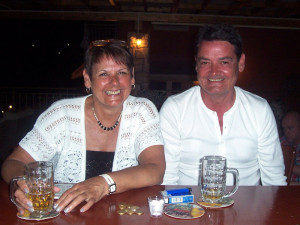 Ian Arkwright and sister in Greece earlier this year.