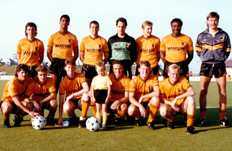 Wolves line up in Anglesey 24 years ago. Back row, from left: Tim Steele, Shane Westley, Nigel Vaughan, Tony Lange, Mark Venus, Floyd Streete, Gary Bellamy. Front: Andy Thompson, Mick Gooding, Andy Mutch, mascot, Phil Chard, Robbie Dennison, Mark Venus.