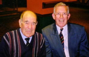 With his best Molineux mate Norman Deeley at a function in 2002.