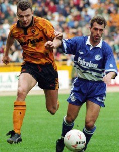 Simkin in action against Millwall in May, 1993.