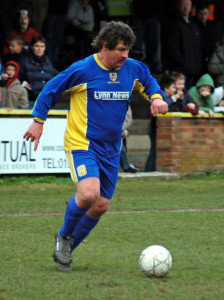 The burly forward in action in his post-Wolves non-League career.