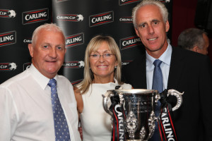 Powell and his wife Tina along with Mick McCarthy and some cherished silverware at a London Wolves dinner in recent years. Photo by Rob Clayton.