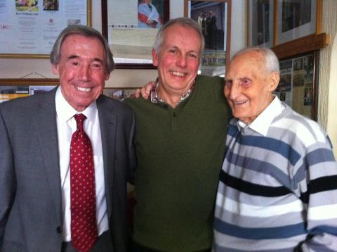 Bert in the company of Gordon Banks and Ian Winter at 'the shrine.'