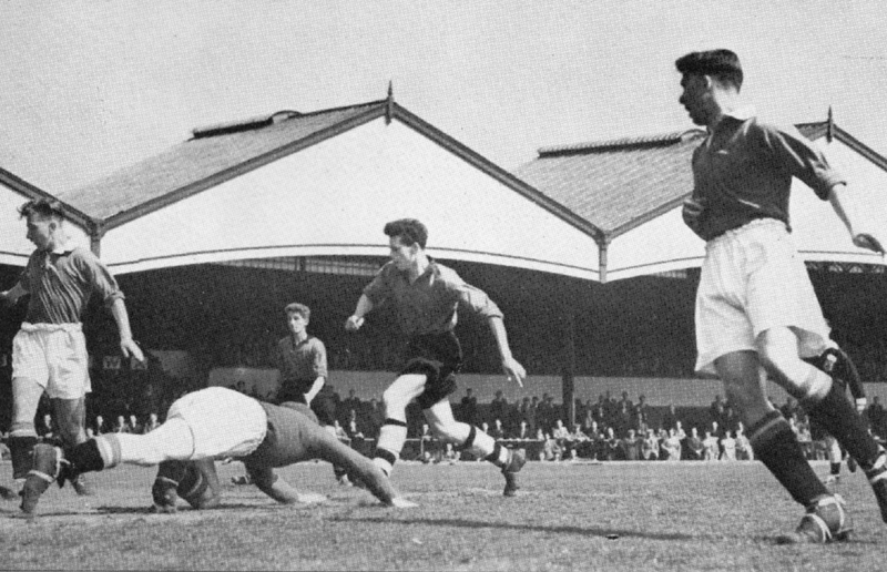 Harry Smith (centre) opens the scoring in the second leg of the 1953 FA Youth Cup final.
