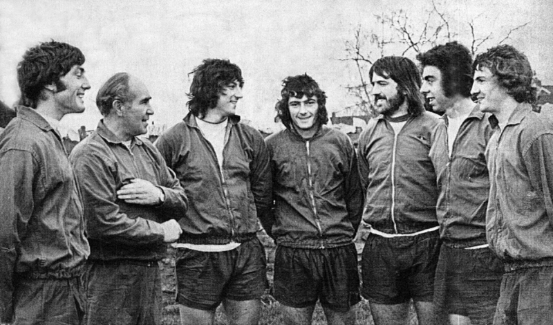A talented bunch of 'locals' in the company of Sir Alf......from left: John Richards, Peter Latchford, Trevor Francis, Bob Latchford, Geoff Palmer and Barry Powell.