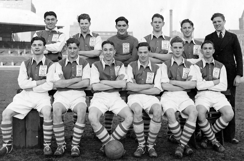 John Jarman, with the ball at his feet, pictured as skipper of Staffordshire's National Association of Boys Clubs team in 1948-49. Immediately to his right, as the reader looks, is Phil Shaw - later to serve Wolves in a variety of roles, including that of club secretary.