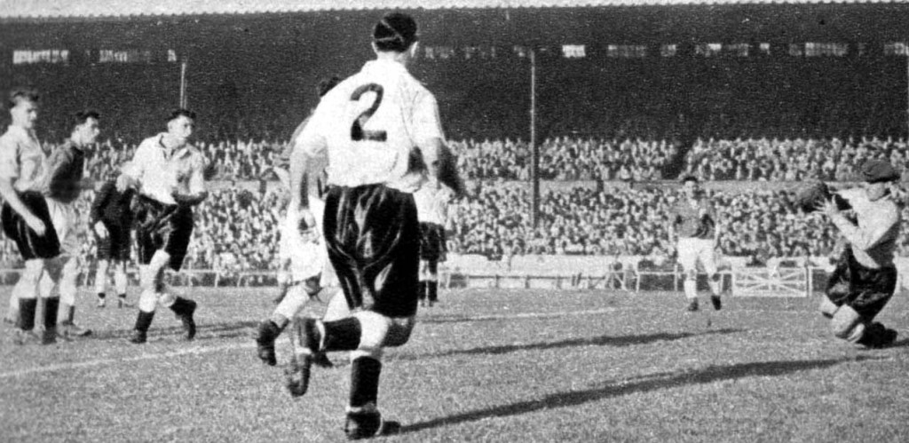 Bert in action for a World Cup XI at Stamford Bridge.