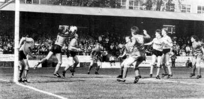 Early days while on loan. Stowell deals with an aerial ball during Wolves' win at Aldershot in April, 1989.
