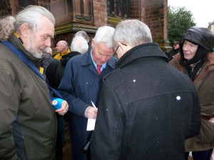 Always a popular guest.....Peter Knowles outside church today.