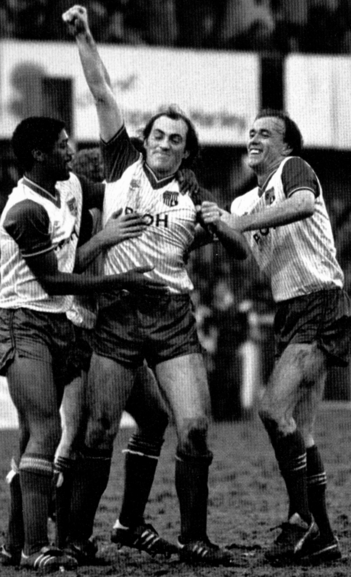 Wolves tormentor and target Paul Maguire celebrates with Mark Chamberlain and Sammy McIlroy.
