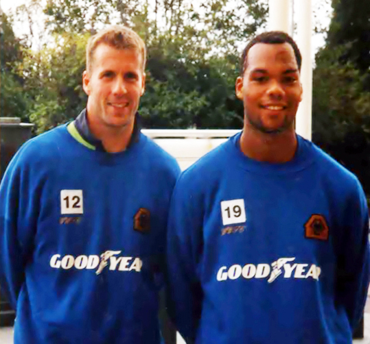 A fan's photo of Mike Stowell and Joleon Lescott. The two played only a handful of times together.