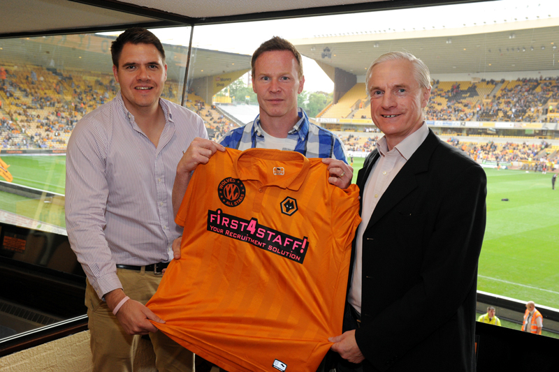 Jody Craddock with Jason Guy (left) and Mel Eves at Molineux.