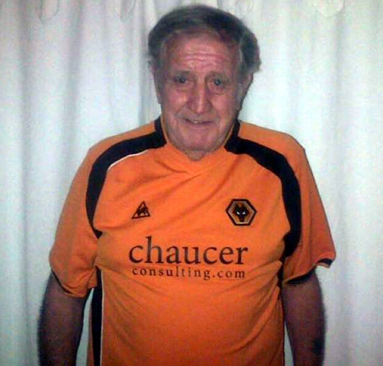 Peter Russell in his personalised and cherished Wolves shirt.