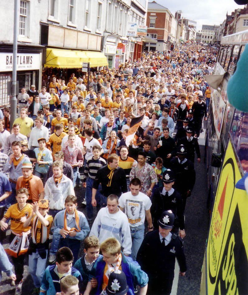 Tens of thousands of fans line the streets of Wolverhampton to celebrate the winning of the Third Division crown in 1989.