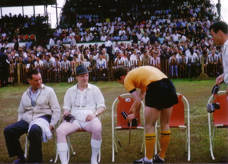 Joe Gardiner, Stan Cullis and Dick Le Flem watch Peter Broadbent preparing for action in the Caribbean in 1964.