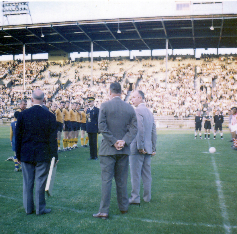Pre-match formalities as Wolves prepare to take on Bangu in the United States in 1963.
