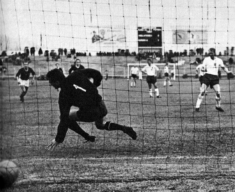 Ron Flowers safely converts from the spot during the 1962 World Cup finals in Chile.