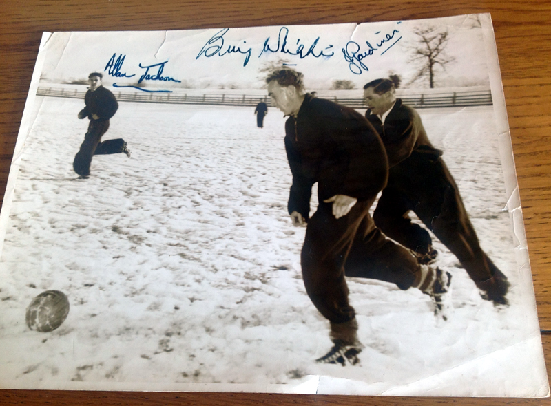 Training with Wolves greats....a snow-bound encounter with Billy Wright and Joe Gardiner.