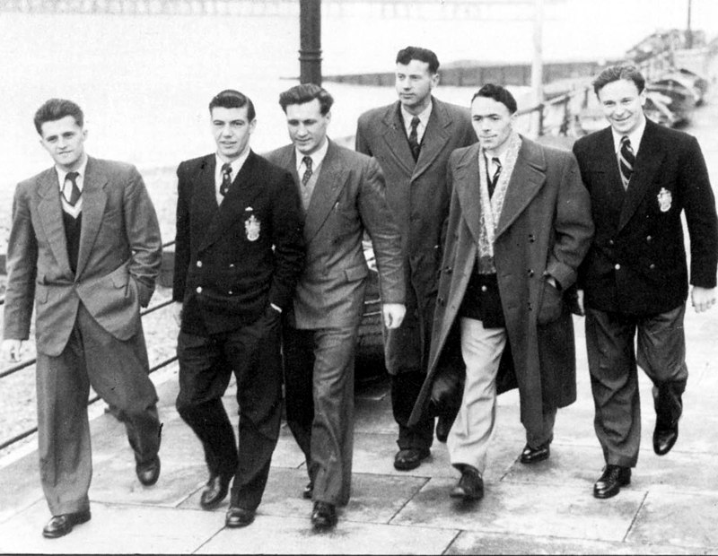 Jimmy Mullen (two in from the left) at an England get-together in Eastbourne shortly before the 1954 World Cup finals. Also seen are (from left) Barry Mansell (Portsmouth), Johnny Haynes (Fulham), Ray King (Port Vale), Ted Burgin (Sheffield United) and Bedford Jezzard (Fulham).