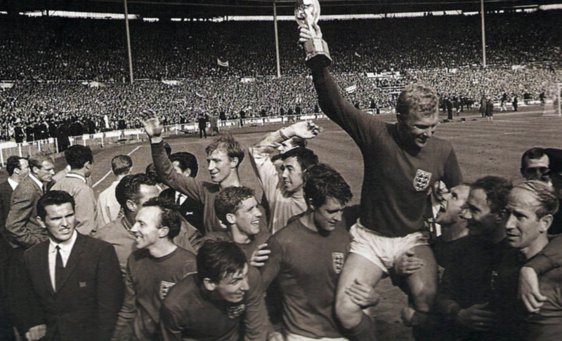 Flowers is seen near the left of a photo taken during England's 1966 celebrations.