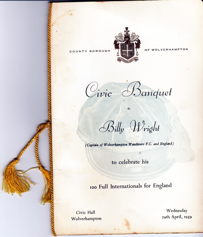 A keepsake from a dinner in Wolverhampton before Billy even went off to the Americas.