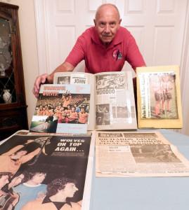 Les Green and his 1974 memorabilia.