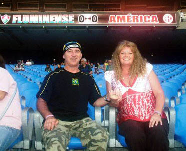John Black in the Maracana five years ago with his former partner Jan.