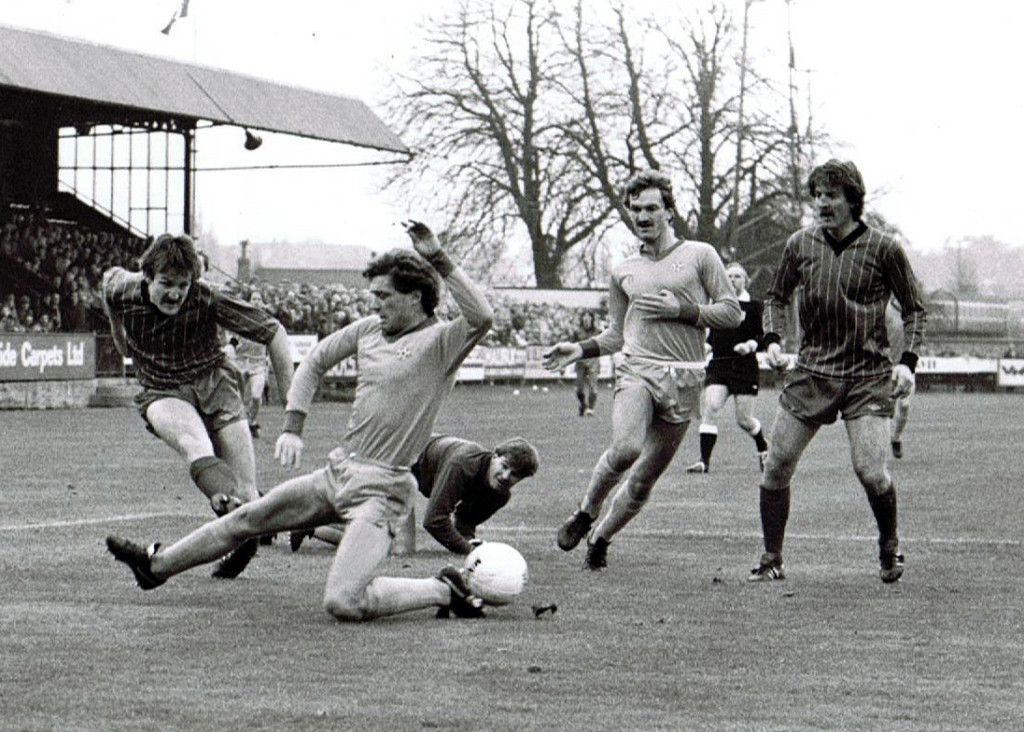 Crompton in the thick of it in an Aldershot v Worcester clash.