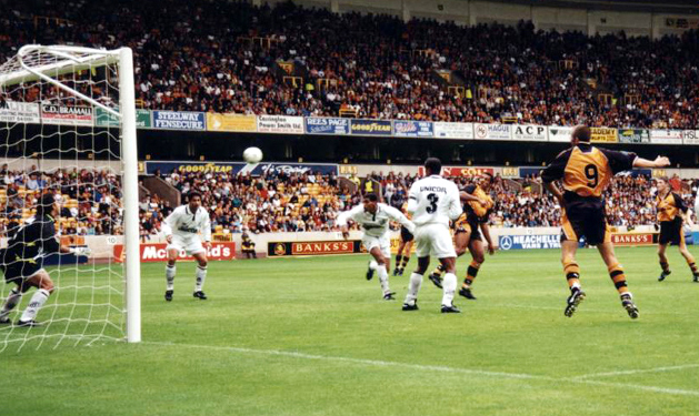 Don Goodman gets in an effort at goal in the Steve Bull testimonial game against Santos in the summer of 1997.