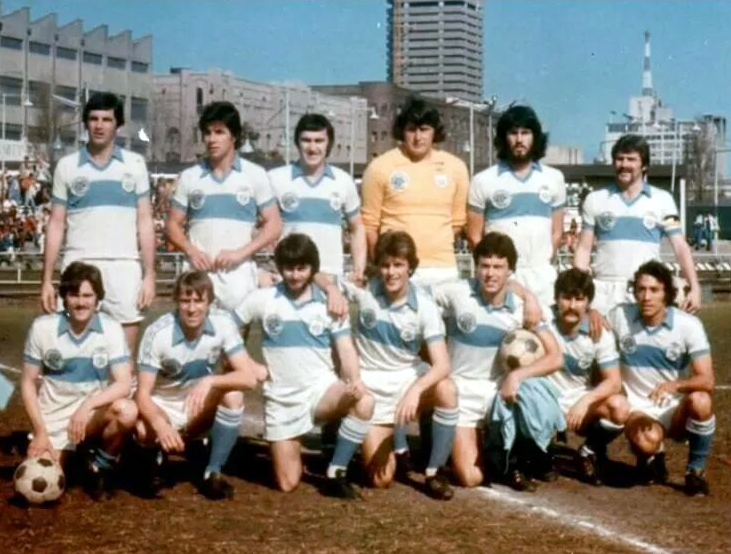 Bertie Lutton is pictured second left on the front row of this team group with 1977 Australian Soccer League champions Eastern Suburbs Hakoah (later Sydney City). John Stevenson is four along on the same row.