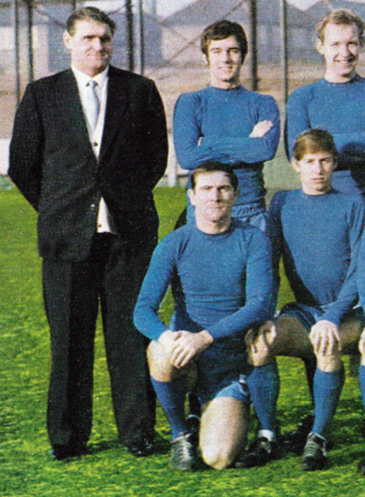 Proud boss! On the end of a Hartlepool team photo that also shows Cloughie 'disciple' John McGovern at the front on the right.