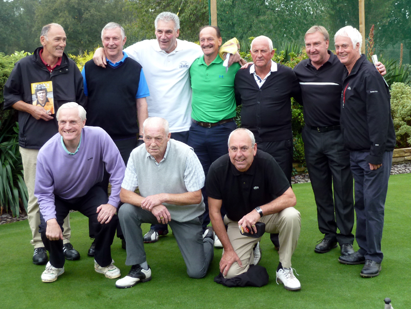 Those with the best knees please crouch down at the front! Back row (from left): John McAlle, Gerry Taylor, Phil Parkes, Kenny Hibbitt, Barry Powell, Steve Daley and guest speaker Duncan McKenzie. Front: Mel Eves, Terry Wharton, Geoff Palmer.