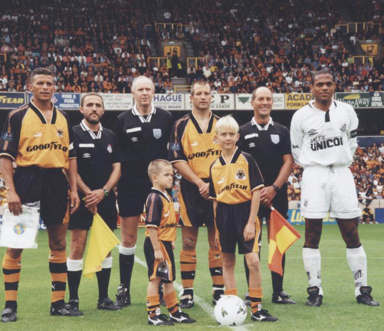 Keith Curle as Wolves skipper at Steve Bull's testimonial game against Santos in 1997.