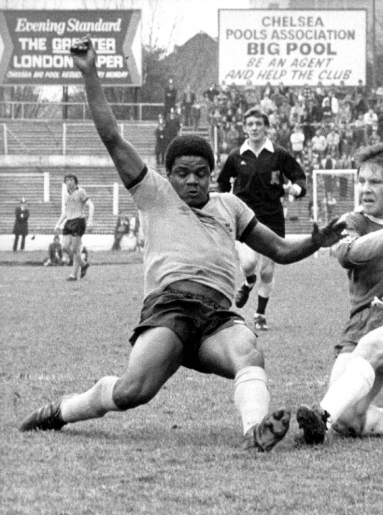 Bob Hazell slides in during a 1-1 Wolves draw at Chelsea in the spring of 1978.