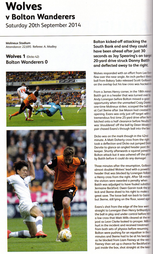 How Wolves' award-winning match-day programmed recorded the recent victory over Bolton.