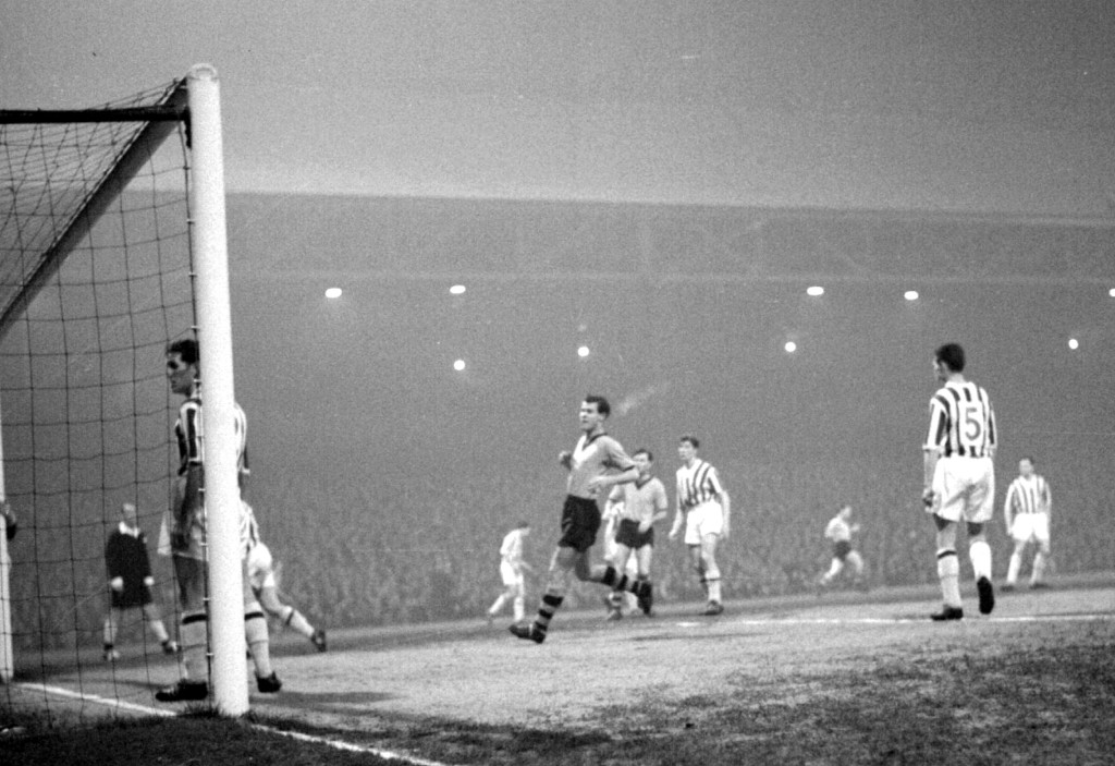 A momentous night for Second Division Huddersfield as they beat holders Wolves in the FA Cup in the first game under the Leeds Road floodlights. Photo courtesy of the Huddersfield Daily Examiner.
