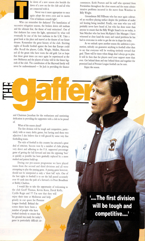 The Graham Turner column from Wolves' opening game of 1993-94 season.