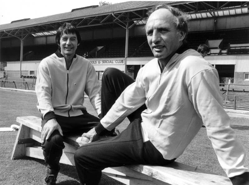 A relaxed pose at Molineux for Bill McGarry and his trusty assistant Sammy Chung.