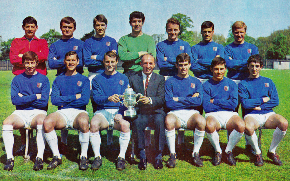 McGarry and Chung in the aftermath of Ipswich's Second Division 1967-68 title success.