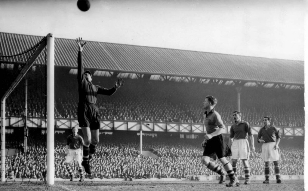 Jimmy in action at Everton against the team he supported as a boy.