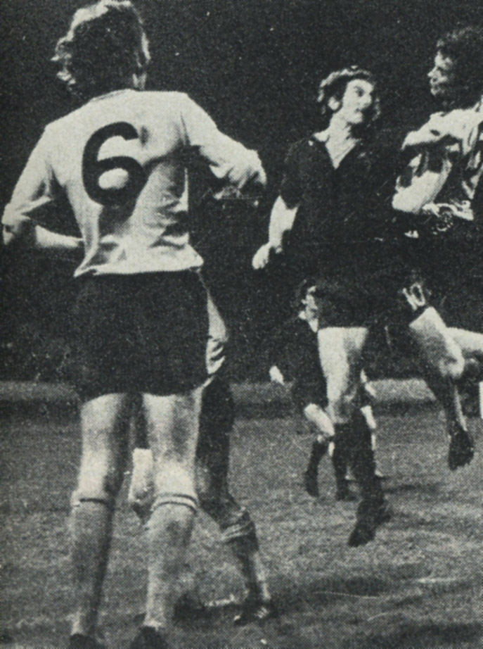 John McAlle and a leaping Frank Munro are stretched by the underdogs' threat on Wolves' League Cup visit to Halifax more than 40 years ago.