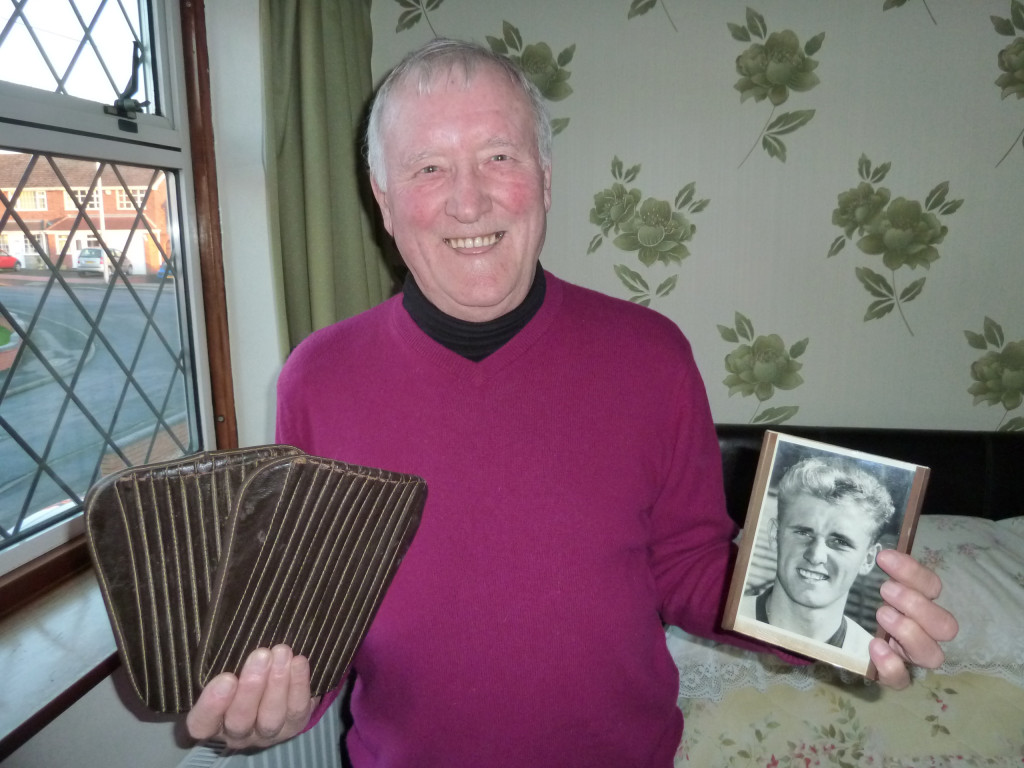 John Harris....with a reminder of how he used to be - and with the shin pads Billy Wright handed to him after the famous 1959 Colours v Whites practice match.