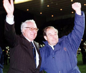 Sir Jack Hayward and his good friend Jack Harris on the night in 1993 when the opening of the stand bearing the latter's name was marked by a nostalgic friendly against Honved.