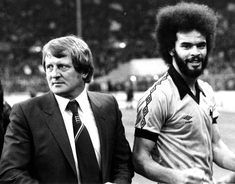 John Barnwell and George Berry leave the Wembley pitch in triumph two and a quarter years before the 1982 rebel tour to South Africa.