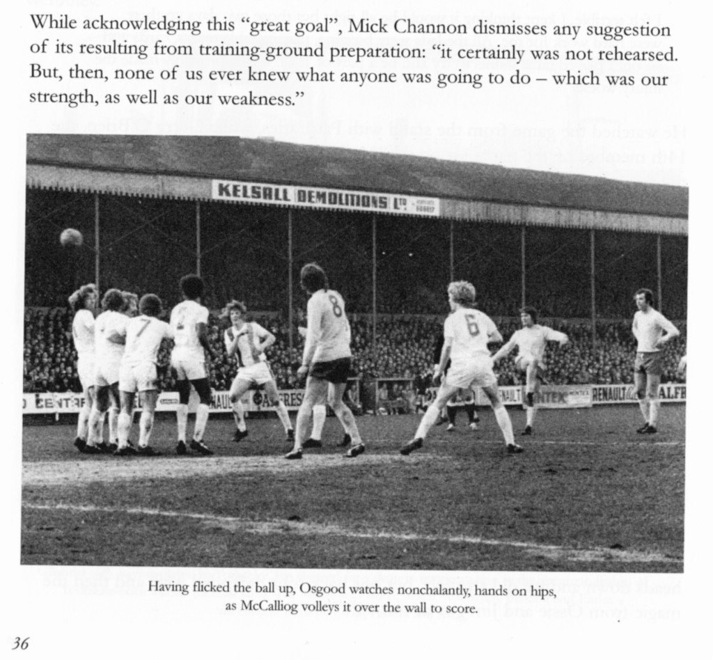 How the free-kick winner was captured, thanks to a Southern Daily Echo photo, in the 'Tie A Yellow Ribbon' book - complete with comment from another famous Southampton goal ace.