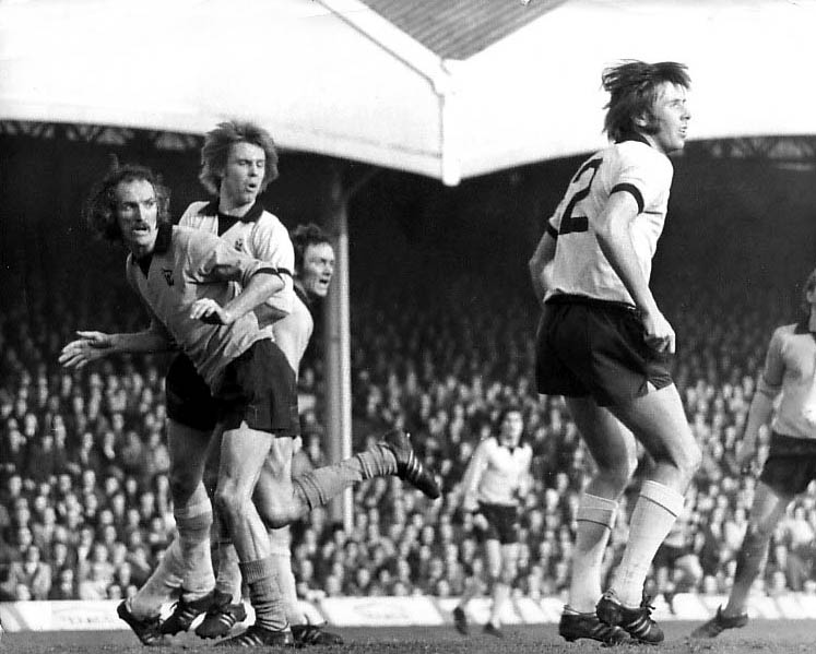 Not  agreat one for black and white TV......Deerk Dougan tangles with Bobby Parker, Roy Barry and Mick Coop in the big 1972-73 Wolves v Coventry clash.