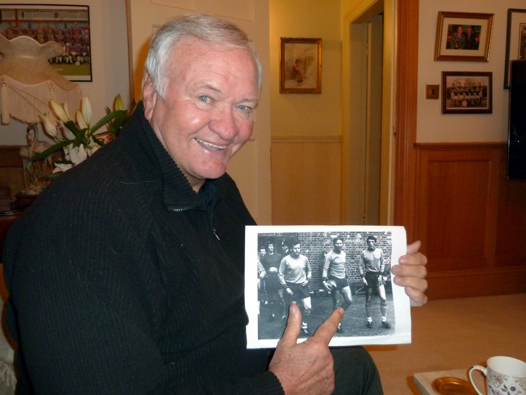 Ron Atkinson, photographed by Wolves Heroes as he points himself out on an Oxford photo also showing Colin Harrington (right), Cyril Beavon, keeper Jim Barron and the late Maurice Kyle.