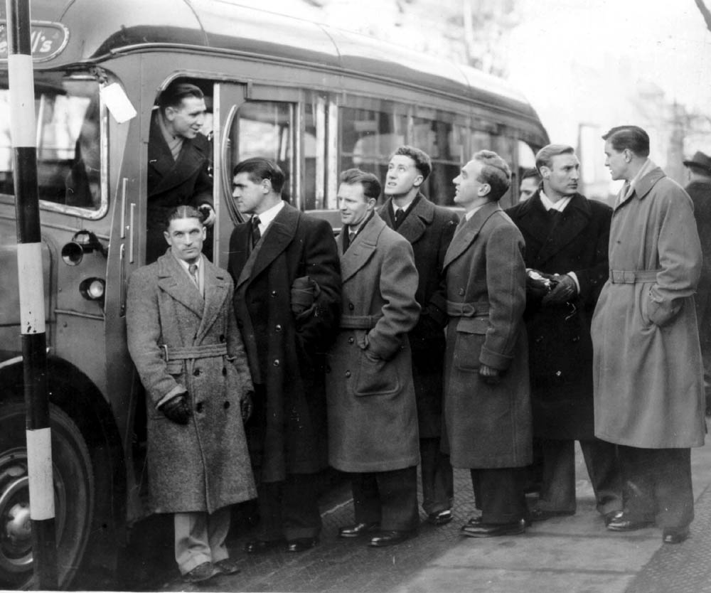 Johnny Hancocks is the only man facing the camera as Wolves' players prepare to board their coach and depart for a 1951 FA Cup tie at Sunderland. It was a mode of transport that suited the winger, who was a definite non-flier.