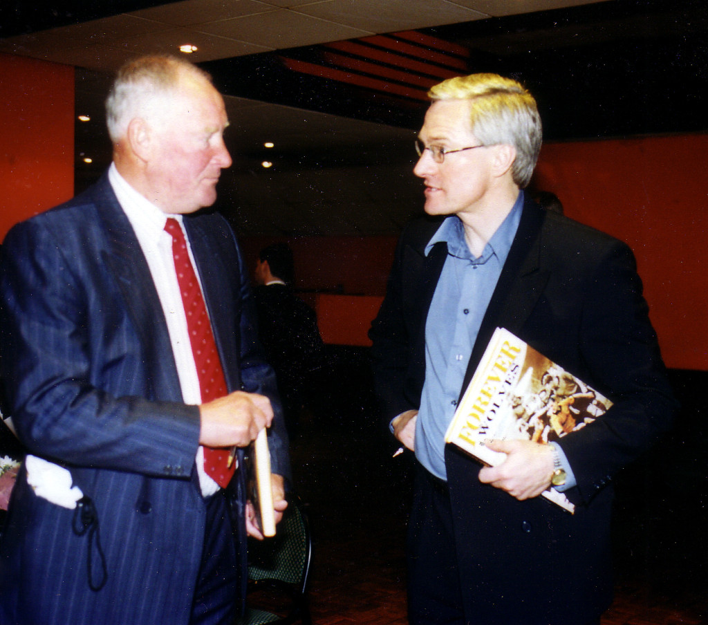 Mel with one of his Molineux predecessors, Ron Flowers, at a 2002 book signing.